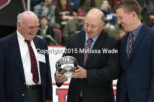 "Bill Cleary, Ted Donato (Harvard - Head Coach) - Harvard held a ceremony between the first and second periods to announce the William ""Bill"" J. Cleary '56 Harvard Ice Hockey Endowment."