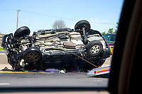 Car accident on freeway van rollover.  Chicago Illinois USA