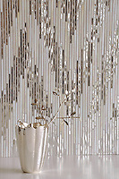 Pamir, a handmade jewel glass mosaic shown in Quartz and Mirror is part of the Ikat Collection by New Ravenna.