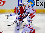 4 December 2008: Montreal Canadiens' right wing forward Alexei Kovalev (27) from Russia is checked by New York Rangers' left wing forward Markus Naslund (91) from Sweden at the Bell Centre in Montreal, Quebec, Canada. The Canadiens, celebrating their 100th season, played in the circa 1915-1916 uniforms for the evenings' Original Six matchup. The Canadiens defeated the Rangers 6-2. *****Editorial Use Only*****..Mandatory Photo Credit: Ed Wolfstein Photo