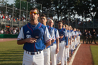 27 july 2010: Pierrick Le Mestre, Joris Navarro, John Haar, Samuel Meurant and the rest of Team France stand during the National anthem during Germany 10-9 victory over France, in day 5 of the 2010 European Championship Seniors, in Stuttgart, Germany.