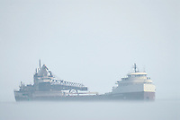 The Oglebay Norton of the Oglebay Norton Marine Services Co. heading south  from Lake Huron to the St. Clair River in fog.