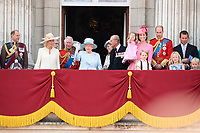Prince Edward, Camilla Duchess of Corwall, Prince Charles, Queen, Prince Phillip, Camilla Duchess of Cornwall, Prince Charles, Queen, Prince Phillip, Catherine Duchess of Cambridge, Princess Charlotte, Prince George, Prince William, Savannah and Isla Phillips, Peter Phillips<br /> on the balcony of Buckingham Palace during Trooping the Colour on The Mall, London. <br /> <br /> <br /> &copy;Ash Knotek  D3283  17/06/2017