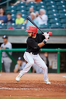 Chattanooga Lookouts shortstop Alex Perez (2) at bat during a game against the Jackson Generals on May 9, 2018 at AT&T Field in Chattanooga, Tennessee.  Chattanooga defeated Jackson 4-2.  (Mike Janes/Four Seam Images)