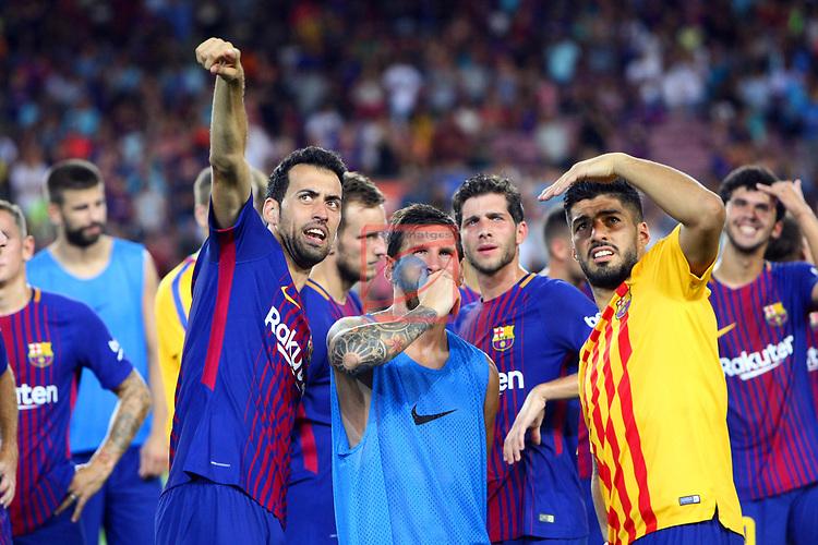 52e Trofeu Joan Gamper.<br /> FC Barcelona vs Chapecoense: 5-0.<br /> Sergio Busquets, Lionel Messi &amp; Luis Suarez.