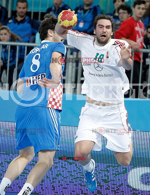Croatia's Marko Kopljar (l) and Hungary's Kornel Nagy during 23rd Men's Handball World Championship preliminary round match.January 15,2013. (ALTERPHOTOS/Acero) /NortePhoto