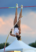 NWA Media/Michael Woods --05/29/2014-- w @NWAMICHAELW...University of Arkansas pole vaulter Megan Zimlich clears the bar in the women's pole vault Thursday afternoon at the 2014 NCAA Division 1 Track and Field West Preliminary track meet at John McDonnell Field in Fayetteville.