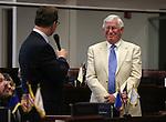 Nevada Sen. Ben Kieckhefer, R-Reno, introduces his dad Bob Kieckhefer on the Senate floor at the Legislative Building in Carson City, Nev., on Tuesday, April 16, 2013. .Photo by Cathleen Allison