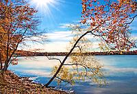 Autumn. Setting sun over Rockland Lake. Fall colors.