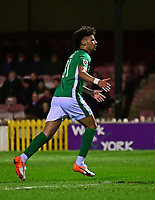 Lincoln City's Lee Angol, left, celebrates scoring the opening goal from the penalty spot<br /> <br /> Photographer Andrew Vaughan/CameraSport<br /> <br /> The Buildbase FA Trophy Semi-Final First Leg - York City v Lincoln City - Tuesday 14th March 2017 - Bootham Crescent - York<br />  <br /> World Copyright &copy; 2017 CameraSport. All rights reserved. 43 Linden Ave. Countesthorpe. Leicester. England. LE8 5PG - Tel: +44 (0) 116 277 4147 - admin@camerasport.com - www.camerasport.com
