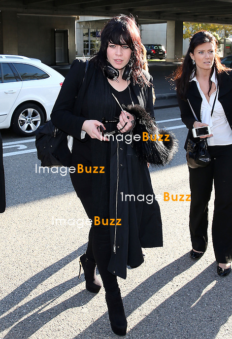 Alex Hepburn arrives at Nice airport for the NRJ MUSIC AWARDS 2014.<br /> December 13, 2013.