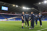 Bolton Wanderers' Sammy Ameobi and Craig Noone chat with a member of the Cardiff City backroom staff<br /> <br /> Photographer Kevin Barnes/CameraSport<br /> <br /> The EFL Sky Bet Championship - Cardiff City v Bolton Wanderers - Tuesday 13th February 2018 - Cardiff City Stadium - Cardiff<br /> <br /> World Copyright &copy; 2018 CameraSport. All rights reserved. 43 Linden Ave. Countesthorpe. Leicester. England. LE8 5PG - Tel: +44 (0) 116 277 4147 - admin@camerasport.com - www.camerasport.com