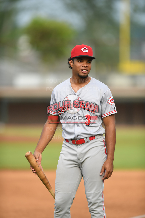 Rece Hinds (3) of the Greeneville Reds warms up prior to a game against the Bristol Pirates at Boyce Cox Field on July 31, 2019 in Bristol, Virginia. The Pirates defeated the Reds 13-3. (Tracy Proffitt/Four Seam Images)