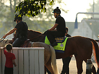 LOUISVILLE, KY -MAY 28: Kentucky Derby and Preakness winner Justify, ridden by Humberto Gomez, walks to the track at Churchill Downs, Louisville, Kentucky, with assistant trainer Jimmy Barnes (on pony Sunny.) (Photo by Mary M. Meek/Eclipse Sportswire/Getty Images)