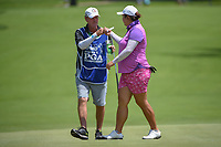 Shanshan Feng (CHN) fist bumps her caddie after sinking her putt on 10 during round 1 of the 2018 KPMG Women's PGA Championship, Kemper Lakes Golf Club, at Kildeer, Illinois, USA. 6/28/2018.<br /> Picture: Golffile | Ken Murray<br /> <br /> All photo usage must carry mandatory copyright credit (&copy; Golffile | Ken Murray)