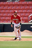 Carolina Mudcats first baseman Pat McInerney (29) during a Carolina League game against the Winston-Salem Dash on August 14, 2019 at Five County Stadium in Zebulon, North Carolina.  Winston-Salem defeated Carolina 4-2.  (Mike Janes/Four Seam Images)