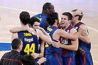 FC Barcelona Regal's Ante Tomic, Alex Abrines, Nathan Jawai, Juan Carlos Navarro, Xabi Rabaseda and Brad Oleson celebrate the victory  after Spanish Basketball King's Cup match.February 07,2013. (ALTERPHOTOS/Acero) /Nortephoto