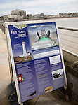 Information board for boat trips to Flat Holm island, Weston super Mare, Somerset, England