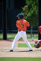 GCL Astros first baseman Ronaldo Urdaneta (3) at bat during a game against the GCL Nationals on August 6, 2018 at FITTEAM Ballpark of the Palm Beaches in West Palm Beach, Florida.  GCL Astros defeated GCL Nationals 3-0.  (Mike Janes/Four Seam Images)