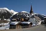 Village church in Ritzingen in the Swiss alps- close to the Furkapass, Oberwald, Switzerland.