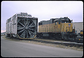 3/4 right front view of UP rotary snowplow and UP GP38-2 #2245.  &quot;U.P. Diesel Shops&quot;.<br /> Union Pacific  North Platte, NE  Taken by Berkstresser, George