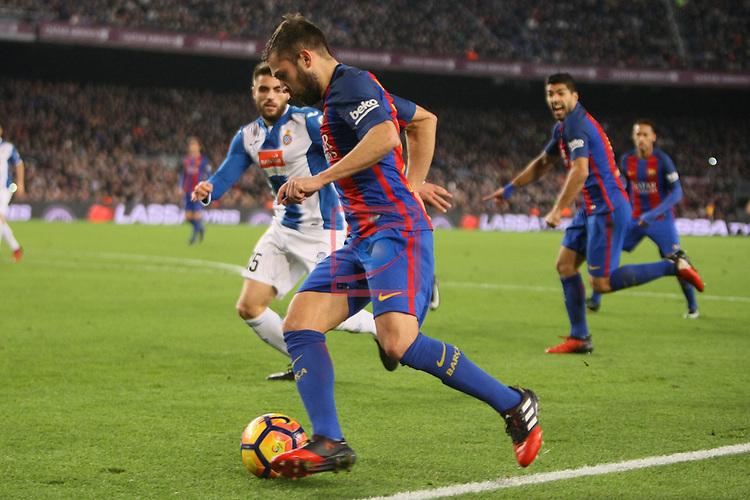League Santander 2016/2017. Game: 16.<br /> FC Barcelona vs RCD Espanyol: 4-1.<br /> Jordi Alba vs David Lopez.
