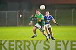 Kerins O'Rahilly's David McLoughlin and John Mitchels Hayden Fitzgerald keep their eye on ball at Austin Stack park, Tralee on Saturday.