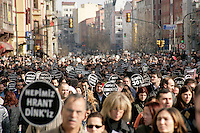 Protest march on the day of Armenian journalist Hrant Dink's funeral and in response to his murder, January 2007, Istanbul, Turkey