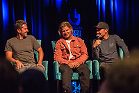 "Coolangatta, Queensland (Thursday, August 2 2018): Enich Harris (USA), Mark Occhilupo  (AUS) and Joel Parkinson (AUS) - The Gold Coast Premier of the Andy Irons: Kissed by God  movie was held last night at Twin Towns Resort with over a 1000 people in attendance including Joel Parkinson, Occy, Mick Fanning and Lyndie Irons. Kissed by God is a film about bipolar disorder and opioid addiction as seen through the life of three-time world champion surfer Andy Irons. Andy struggled with the same demons that millions of people worldwide battle with daily. Andy was an incredible presence on the world stage as the ""People's Champion."" He was the pride of Hawaii and revered around the world for his blue-collar rise to fame and success. However, many were unaware of the internal battles that led to his demise. As the opioid crisis rises to a national emergency in the United States and around the world, the untold story of Andy's life serves to tear down the myths associated with these two ferocious diseases.<br /> <br /> This film is produced by Teton Gravity Research and is brought to Australia in partnership with Surfing World Magazine<br /> Photo: joliphotos.com"