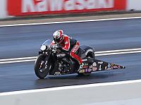 Jun 6, 2015; Englishtown, NJ, USA; NHRA pro stock motorcycle rider Matt Smith during qualifying for the Summernationals at Old Bridge Township Raceway Park. Mandatory Credit: Mark J. Rebilas-