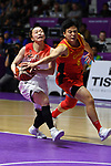 (L-R) Aya Watababe (JPN), Wang Lili (CHN), <br /> AUGUST 17, 2018 - Basketball : Women's Qualification round match between Japan 73-105 China at Gelora Bung Karno Basket Hall A during the 2018 Jakarta Palembang Asian Games in Jakarta, Indonesia. (Photo by MATSUO.K/AFLO SPORT)
