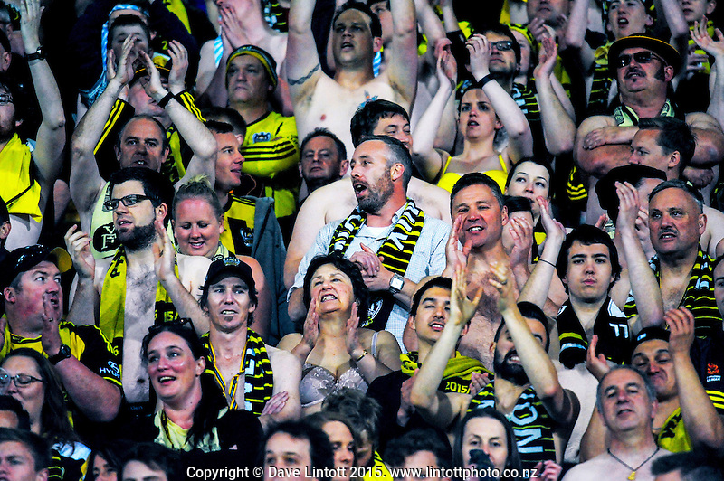 Fans in the Yellow Fever zone during the A-League football match between Wellington Phoenix and Adelaide United at Westpac Stadium, Wellington, New Zealand on Friday, 13 November 2015. Photo: Dave Lintott / lintottphoto.co.nz