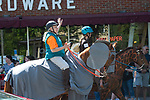 WINSTED,  CT-051819JS14- Marilyn Francasso of Southfield Mass., and Kaela Martin, 15, of Sheffield, Mass., riding their horses Jet and Chip, dressed as an elephant and a giraffe, during the 83rd annual Rotary Club Pet Parade along Main Street in Winsted on Saturday. The horses are from Happy Acre Ranch in Southfield.  <br /> Jim Shannon Republican American
