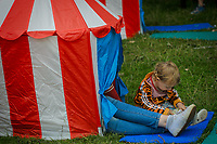 18 month-old Idris Raphael enjoy the reading tent at the Wilderness Festival, August 4, 2017.   (parents ok for picture)<br /> CAP/CAM<br /> &copy;Andre Camara/Capital Pictures