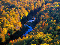 Porcupine Mts Wilderness SP, MI   Big Carp River meanders thru hardwood forest in fall color - from the escarpment overlook above the Lake of the Clouds