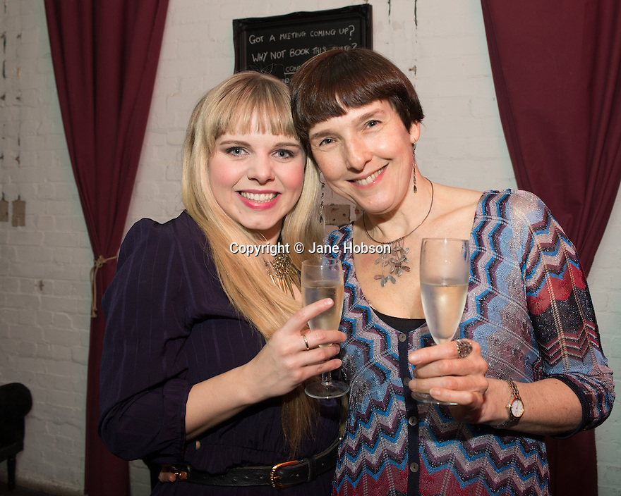 London, UK. 24.02.2014. Dawn Sieveright (Esme) and Diane Samuels (book writer), at the after party for press night of The A to Z of Mrs P, which premieres at Southwark Playhouse. © Jane Hobson.