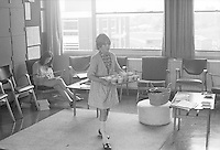 Girls taking tea cups back from the staffroom, Whitworth Comprehensive School, Whitworth, Lancashire.  1970.