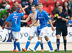 St Johnstone v Aberdeen...23.08.14  SPFL<br /> Birthday boy Steven MacLean celebrates his goal with Chris Millar<br /> Picture by Graeme Hart.<br /> Copyright Perthshire Picture Agency<br /> Tel: 01738 623350  Mobile: 07990 594431