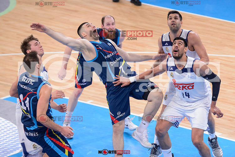 Real Madrid's Luka Doncic, Gustavo Ayon and Felipe Reyes and Morabanc Andorra's Oliver Stevic, Beka Burjanadze and Thomas Schreiner during Quarter Finals match of 2017 King's Cup at Fernando Buesa Arena in Vitoria, Spain. February 16, 2017. (ALTERPHOTOS/BorjaB.Hojas) /Nortephoto.com
