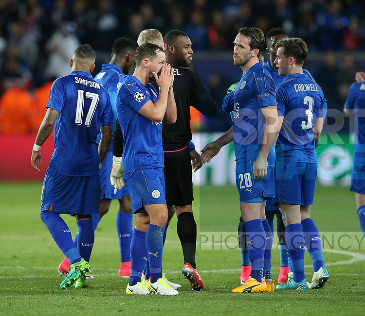 Leicester's Danny Drinkwater looks on dejected at the final whistle during the Champions League Quarter-Final 2nd leg match at the King Power Stadium, Leicester. Picture date: April 18th, 2017. Pic credit should read: David Klein/Sportimage