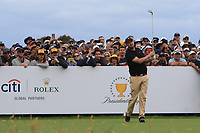 Marc Leishman (International) on the 10th tee during the First Round - Four Ball of the Presidents Cup 2019, Royal Melbourne Golf Club, Melbourne, Victoria, Australia. 12/12/2019.<br /> Picture Thos Caffrey / Golffile.ie<br /> <br /> All photo usage must carry mandatory copyright credit (© Golffile | Thos Caffrey)