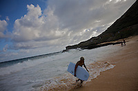 "A young man leaves the water after a boogie board session at ""Sandy Beach Park""  where Senator Barack Obama used to come to body surf often when living in Hawaii. The image was taken in Honolulu, Hawaii, United States on Thursday July  31 2008...Senator Barack Obama, the presumptive 2008 Democratic presidential candidate was born in Hawaii and spending in he State most of his childhood and teen years. He  graduated from Hololulu's Punahou coeducational college preparatory day school in 1979."