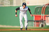 Danny Hayes (32) of the Kannapolis Intimidators takes his lead off of first base against the Hickory Crawdads at CMC-Northeast Stadium on May 18, 2014 in Kannapolis, North Carolina.  The Intimidators defeated the Crawdads 6-5 in 10 innings.  (Brian Westerholt/Four Seam Images)