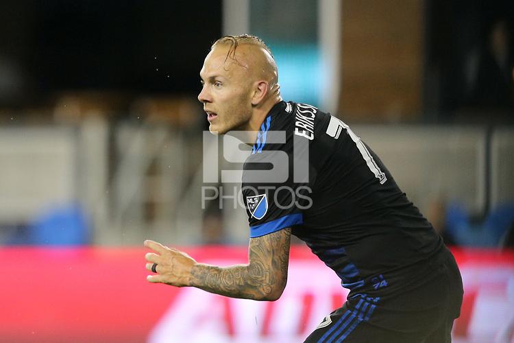 San Jose, CA - Saturday May 19, 2018: Magnus Eriksson during a Major League Soccer (MLS) match between the San Jose Earthquakes and D.C. United at Avaya Stadium.