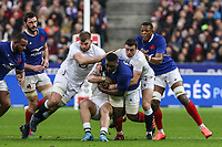 2nd February 2020, Stade de France, Paris; France, 6-Nations International rugby union, France versus England;  Demba Bamba (France)  Jefferson Poirot (France)  Cameron Woki (France) and Charles Ollivon (France) held up by Will Stuart (Eng) and George Ford (Eng)
