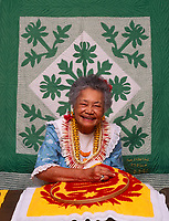 Deborah Kakalia, Master Hawaiian Quilt Maker, Bishop Museum, Honolulu, Oahu, Hawaii, USA.