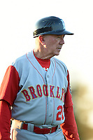Brooklyn Cyclones manager Tom Gamboa (20) during a game against the Batavia Muckdogs on August 9, 2014 at Dwyer Stadium in Batavia, New York.  Batavia defeated Brooklyn 4-2.  (Mike Janes/Four Seam Images)