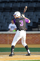 Brady Williamson (3) of the High Point Panthers at bat against the Wake Forest Demon Deacons at Wake Forest Baseball Park on April 2, 2014 in Winston-Salem, North Carolina.  The Demon Deacons defeated the Panthers 10-6.  (Brian Westerholt/Four Seam Images)