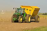 Corn seed harvest, Oxbo self-dumping hopper tailer, John Deere  8200 tractor (1997)