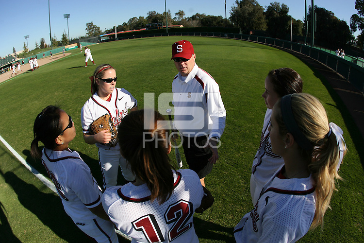 15 February 2008: Stanford Cardinal (not in order) head coach John Rittman, Alissa Haber, Michelle Schroeder, Autumn Albers, Tricia Aggabao, and Anna Beardman during Stanford's 12-2 win against the Santa Clara Broncos in the Stanford Invitational I at the Boyd and Jill Smith Family Stadium in Stanford, CA.
